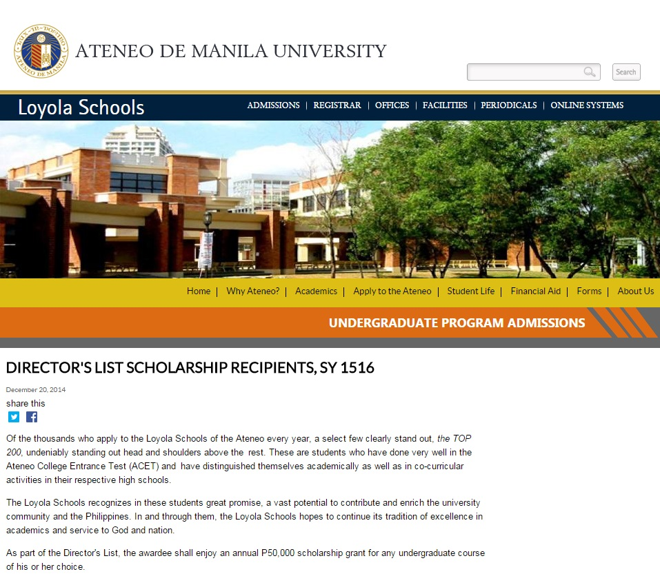ateneo application essay Entrance examination schedule the entrance examination is usually scheduled twice a month all year round the applicant may select a schedule of exam from the agsb.
